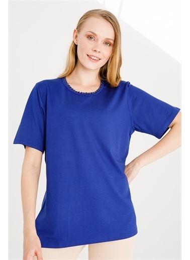 Desen Triko Bluz Mavi